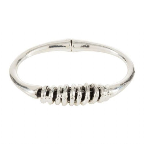Solid Silver Bangle with Wrapped Feature